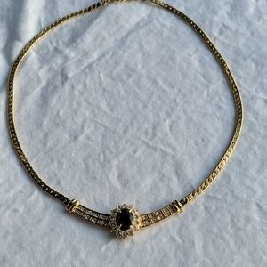 Jewelry - Vintage sapphire and crystal gold necklace